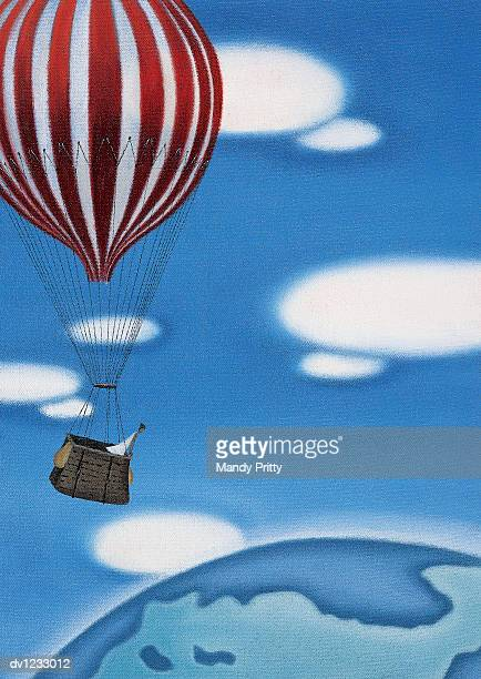woman high up in a hot air ballon looking at the earth - mandy pritty stock illustrations