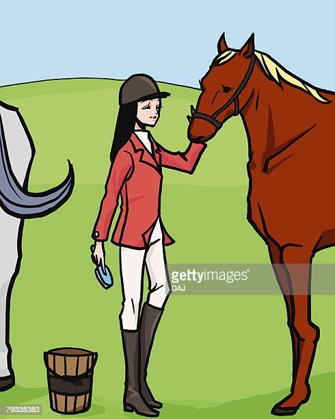 Woman holding a brush and stroking a horse, side view, Illustrative Technique