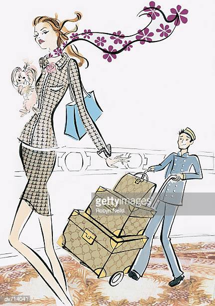 Woman Holding a Dog with Bellboy Walking with her Luggage Behind her