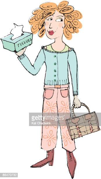 A woman holding a handbag and a box of tissues