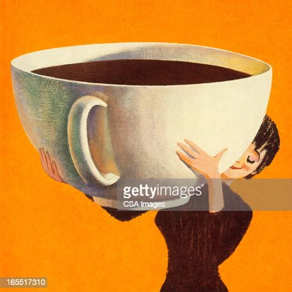 woman holding a huge cup of coffee stock illustration getty images. Black Bedroom Furniture Sets. Home Design Ideas
