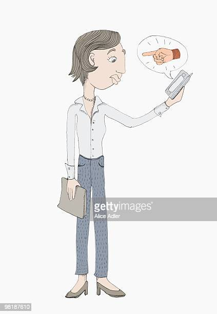 a woman holding a mobile phone with a speech bubble - thought bubble stock illustrations