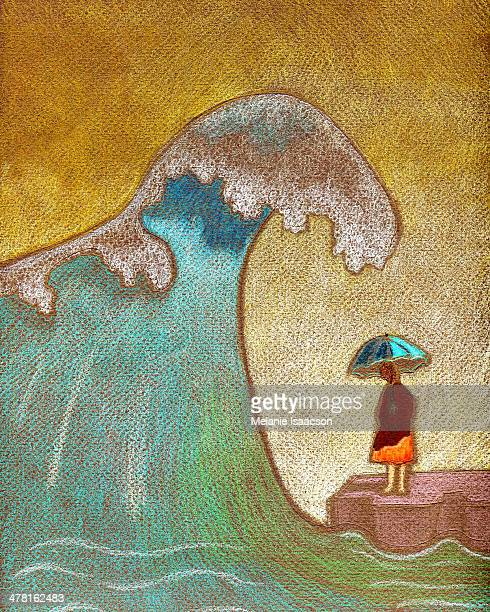 a woman holding an umbrella as a big ocean wave is coming toward her - one mid adult woman only stock illustrations