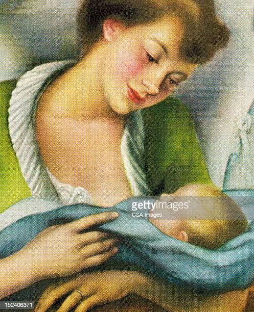 ilustraciones, imágenes clip art, dibujos animados e iconos de stock de mujer sostiene un bebé - lactancia materna