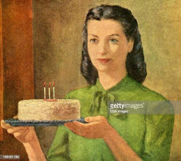 woman holding birthday cake - one mid adult woman only stock illustrations