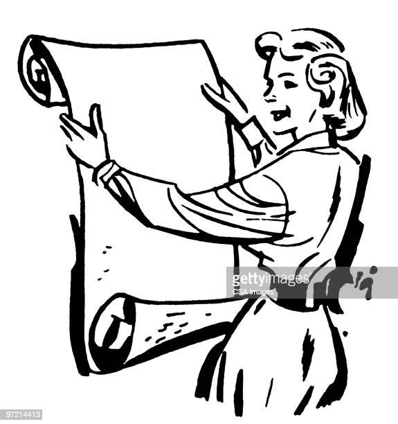 woman holding blank scrolled paper - scrollen stock illustrations