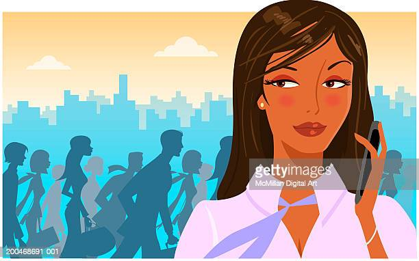 woman holding cell phone, commuters and cityscape in background - one young woman only stock illustrations