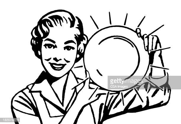 woman holding clean dish - stay at home mother stock illustrations, clip art, cartoons, & icons