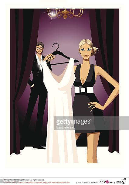 woman holding dress, man in background - updo stock illustrations, clip art, cartoons, & icons