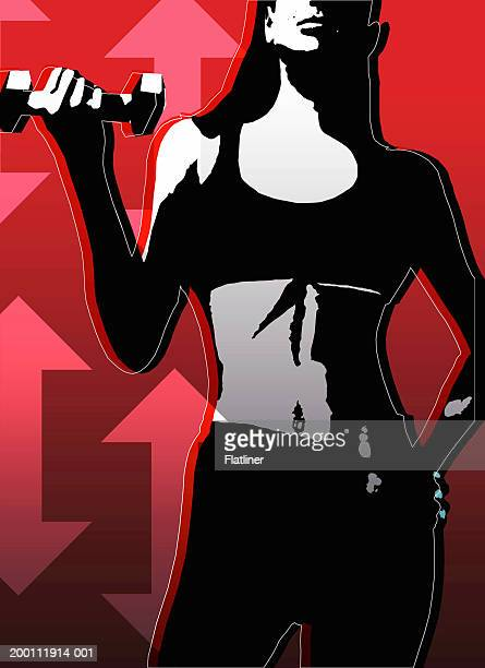 woman holding dumbbell, mid section - abdominal muscle stock illustrations, clip art, cartoons, & icons
