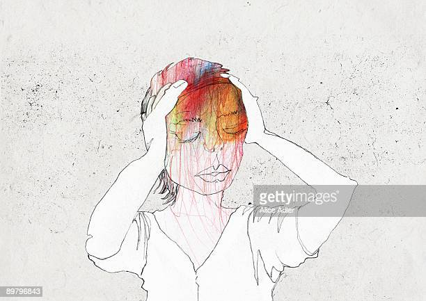a woman holding her head in pain - sadness stock illustrations