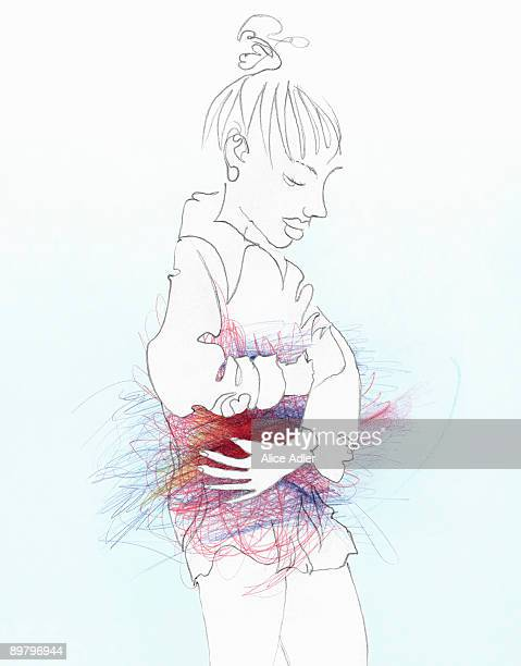 a woman holding her stomach - stomach stock illustrations