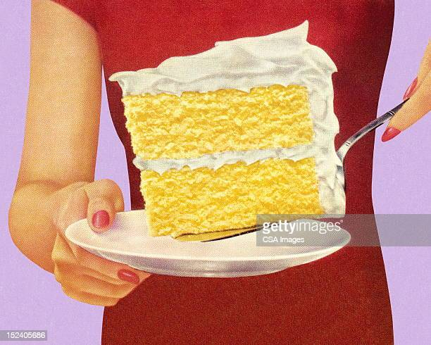 woman holding large piece of cake - pastry dough stock illustrations, clip art, cartoons, & icons