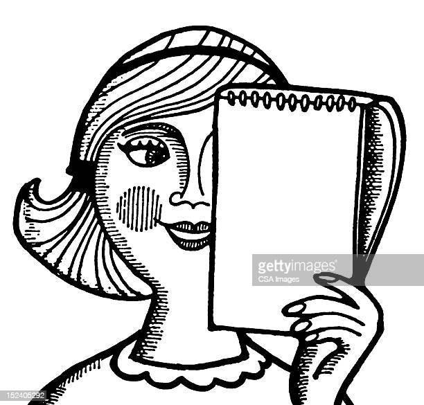 Woman Holding Notepad