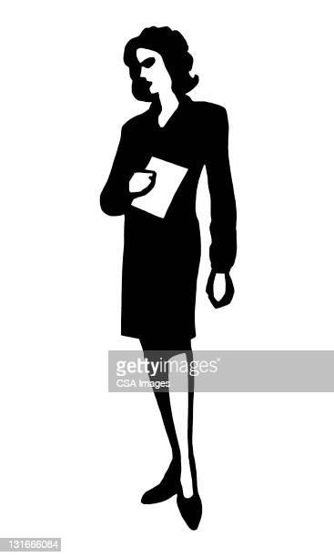 woman holding paper - corporate business stock illustrations