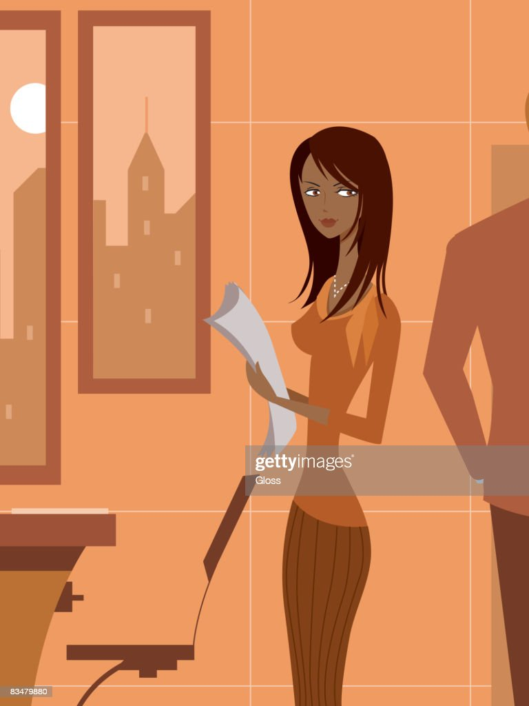 A woman holding papers in office,  looking at a man behind her : stock illustration