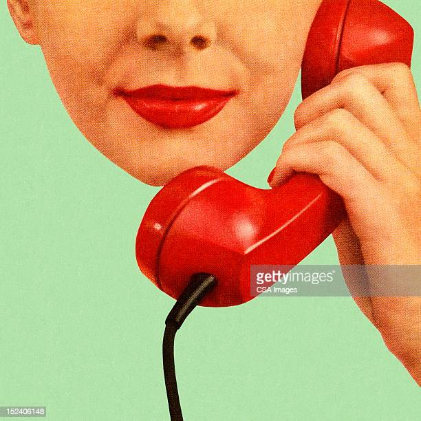 woman holding red phone to hear ear - one woman only stock illustrations, clip art, cartoons, & icons