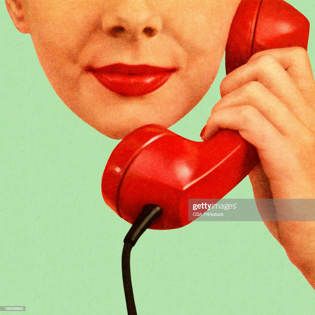 Woman Holding Red Phone to Her Ear : stock illustration