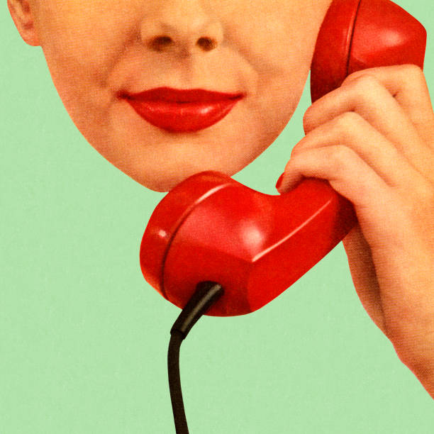 woman holding red phone to her ear - lips stock illustrations