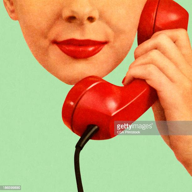 woman holding red phone to her ear - using phone stock illustrations