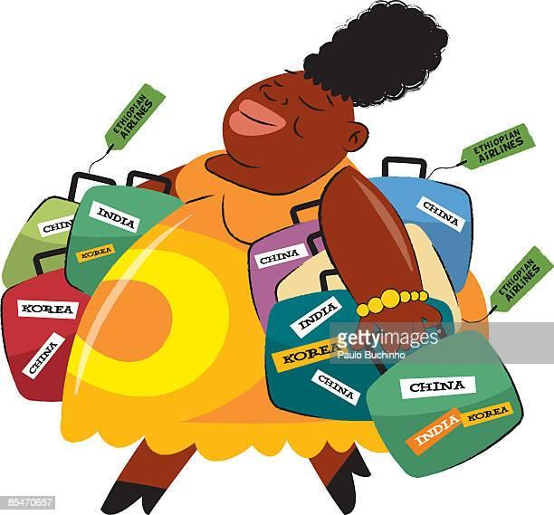 ilustrações de stock, clip art, desenhos animados e ícones de a woman holding suitcases covered in stickers from india,korea and china - buchinho