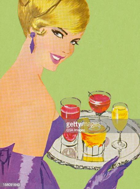 Woman Holding Tray of Drinks