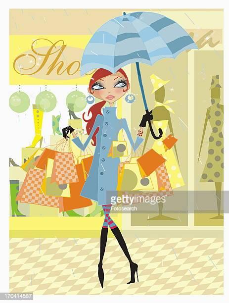 ilustraciones, imágenes clip art, dibujos animados e iconos de stock de woman holding umbrella in the rain with many shopping bags - mujeres de mediana edad