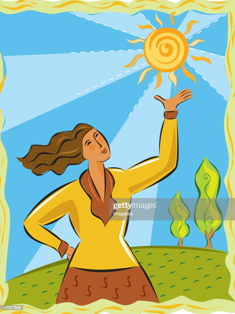 Woman holding up the sun : Illustration