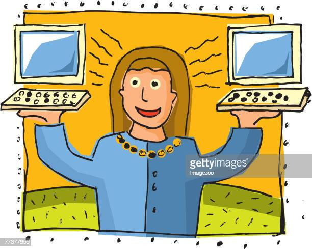 woman holding up two computers