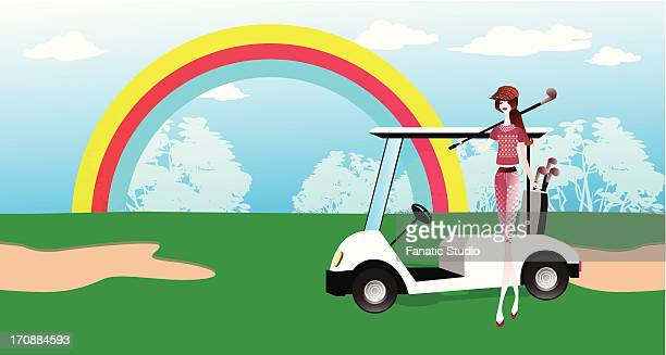 woman in a golf course - sand trap stock illustrations, clip art, cartoons, & icons