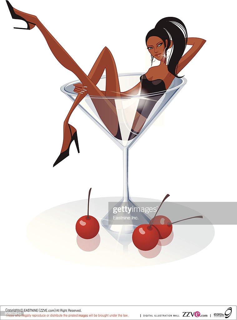Woman in a martini glass : Vector Art