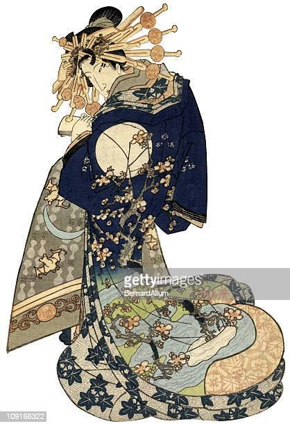 illustrations, cliparts, dessins animés et icônes de femme en kimono japonais traditionnel - estampe japonaise