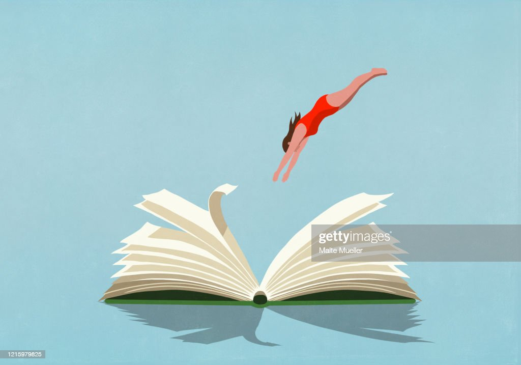 Woman in bathing suit diving into book : Stock-Illustration
