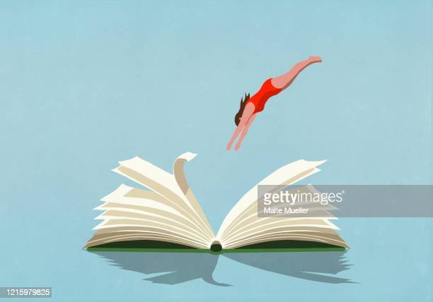 woman in bathing suit diving into book - book stock illustrations