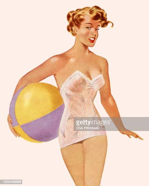 ilustraciones, imágenes clip art, dibujos animados e iconos de stock de mujer en traje de baño sosteniendo una pelota de playa - chicas de calendario
