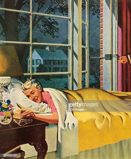 woman in bed - blanket stock illustrations, clip art, cartoons, & icons