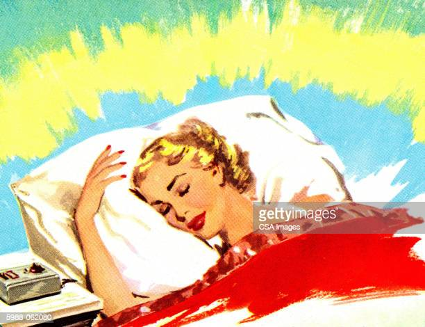 woman in bed - sleeping stock illustrations