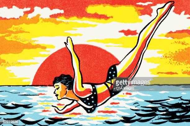 woman in bikini diving - 水に飛び込む点のイラスト素材/クリップアート素材/マンガ素材/アイコン素材