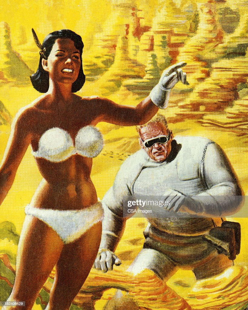 Woman in Bikini Leading Spaceman : stock illustration