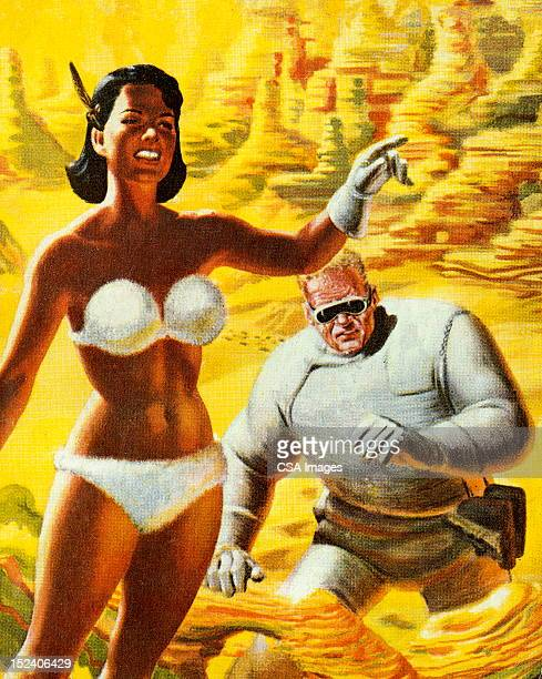 Woman in Bikini Leading Spaceman