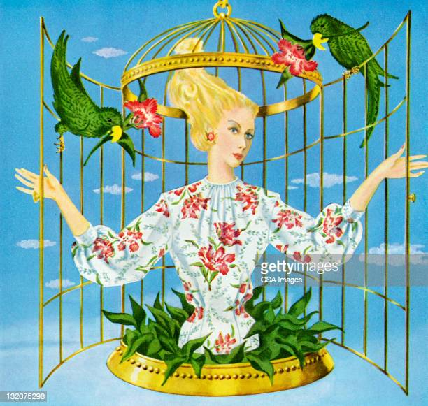 ilustrações, clipart, desenhos animados e ícones de mulher em gaiola - open blouse