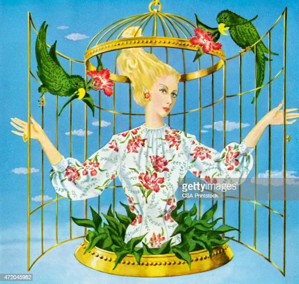 illustrations, cliparts, dessins animés et icônes de femme en cage à oiseaux - perroquet