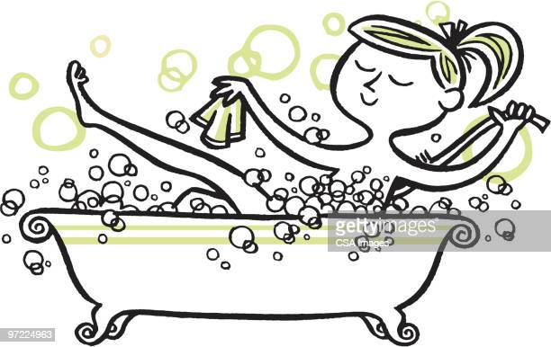 woman in bubble bath - bathroom stock illustrations