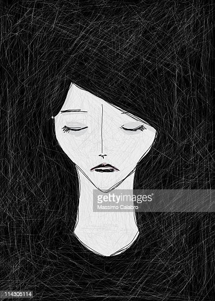 woman in dark - eyes closed stock illustrations, clip art, cartoons, & icons