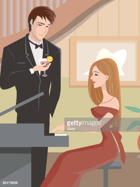 ilustraciones, imágenes clip art, dibujos animados e iconos de stock de a woman in evening gown playing the piano,  while a man in tuxedo is holding a drink and watching her play - social grace
