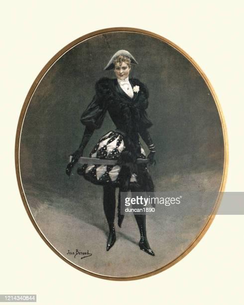 illustrations, cliparts, dessins animés et icônes de femme dans le costume de déguisement, commedia dell'arte, arlequin, 19ème siècle - arlequin