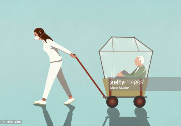 woman in flu mask pulling senior man in covered wagon - transportation stock illustrations