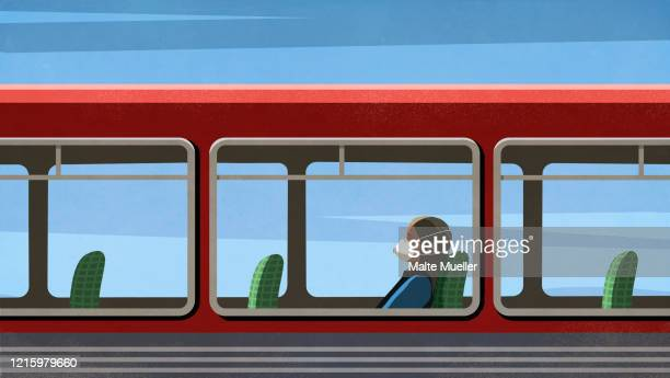 woman in flu mask riding empty bus - public transportation stock illustrations