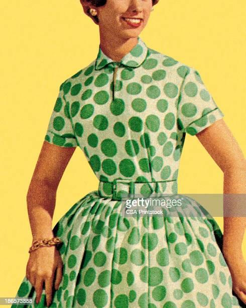 Woman in Green Polka Dot Dress
