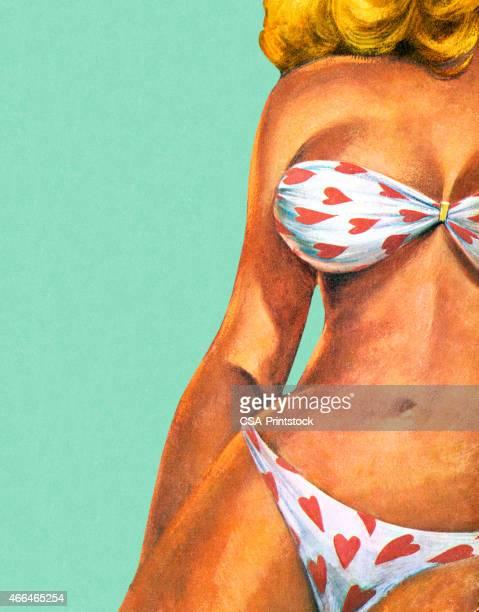 ilustrações, clipart, desenhos animados e ícones de mulher em biquíni de coração - mulher sensual